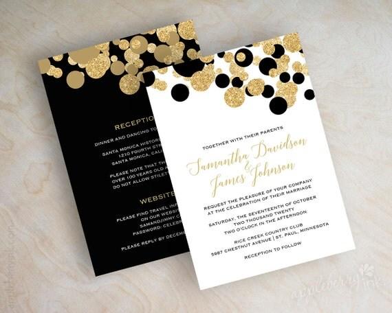 Black White And Gold Wedding Invitations: Items Similar To Black And Gold Polka Dot Wedding