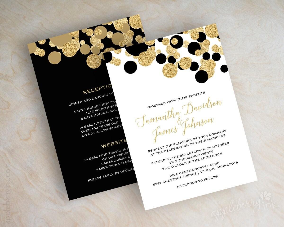 Black White Gold Wedding Invitations: Black And Gold Polka Dot Wedding Invitations Black And Gold