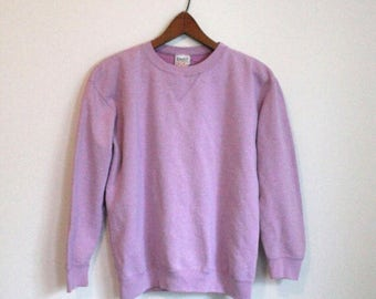 Vintage Sweater, Athletic Sweater, Pullover, Lilac Pullover, Basic Sweater, Cotton Sweatshirt, 80s, 90s Basic Pullover, Medium Large