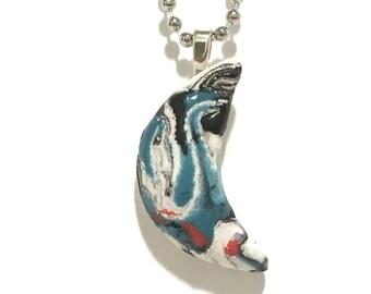 Moon Pendant Necklace, Ceramic Moon Chain, Moon Pottery, Hand-Built Moon Art