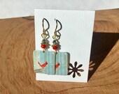 Repurposed Starbucks Christmas gift card earrings
