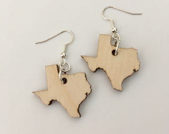 Texas Earrings in Laser Cut Wood, State Earrings, Wooden Jewelry, State Jewelry
