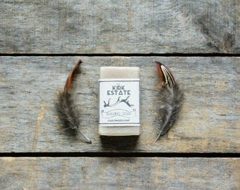 Shaving Soap, Spruce, bentonite clay, small bar, handmade soap, cold process soap, lightly scented, vegan, bar soap, apothecary, artisan