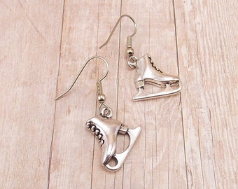 Earrings - Ice Skates - Figure Skates - Silver Charms