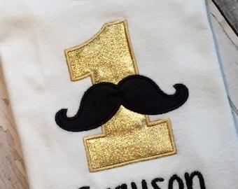 Little Mister MustacheThemed Birthday Shirt or Onesie