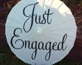 Wedding Engagement Parasol Umbrella Just Engaged Wedding Announcement Photography Prop Sign Banner Decor White Ivory Umbrella