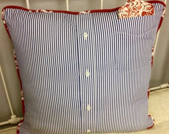 Dapper Boater 16 inch Throw Pillow COVER in Blue/White/Red