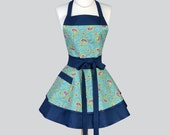 Ruffled Retro Apron , Aqua and Navy Lesiurely Paisley Scroll Womens Apron Ideal Personalized Birthday Gift for Her