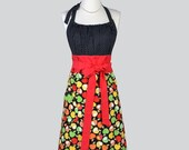 SALE Cute Kitsch , Retro Chef Apron Candy Apple Red and Granny Smith Apple Green Apples Kitchen Apron or Ideal Hostess or Housewarming Gift