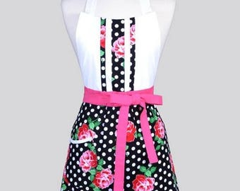 SALE Blossom Womens Full Apron / Black White Polka Dot Pink Roses Retro Floral Mothers Day Cute Cooking Hostess Kitchen Apron with Pockets