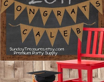 Graduation Party Decorations / Graduation Burlap Banner / Sign Garland / Congrats Personalized / Rustic 3 Day Ship (refCban)