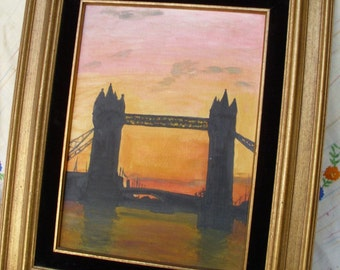 London Tower Bridge Painting // Vintage 1960s Original // Framed Painting // Sunset Cityscape England