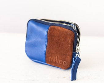 Leather coin purse in royal blue and brown suede, zipper pouch zipper phone case money credit card-The Myrto Zipper pouch