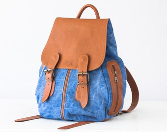 Woman backpack in blue stonewashed canvas and brown leather, backpack purse knapsack rucksack backpack - Artemis backpack