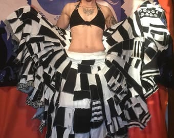 Black and white scrappy patchwork maxi twirl skirt upcycled cotton ooak