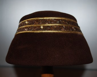 Vintage Chocolate Brown Wool Cloche Hat - bugle beads and gold trim accents - 1960's - the Higbee Co.