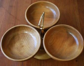 Vintage Rock Maple Rotating Lazy Susan - Three Bowls - Woodland - Modern Country