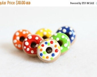 CHRISTMAS SALE Colorful Polymer Clay Donut Pushpins, Set of 6