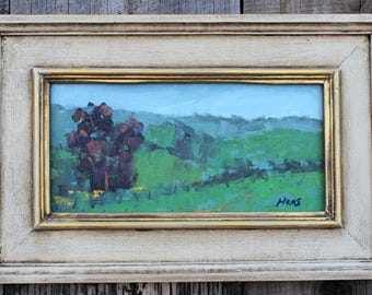 IRIS FARM - Pleasant Valley - California - 6 x 12 - Oil Painting - Wall Hanging - Cottage Chic - Flowers - Pink - Green - Blue - Gift Idea