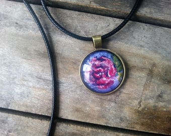 Hand Painted Pink Rose Pendant