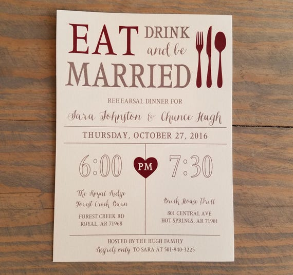 Printable Rehearsal Dinner Invitation, Eat, Drink & Be Married, Rehearsal Invitation, Rehearsal Template, Rehearsal Invite