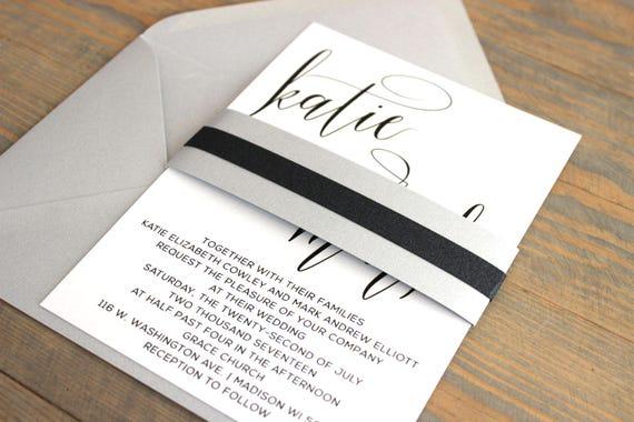 Silver Wedding Invitation, Black Wedding Invitation, Shimmer wedding invitation, metallic wedding invitation, black and silver wedding, gray