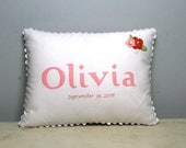 Personalized Baby Pillow with embroidered date - Liberty of London print