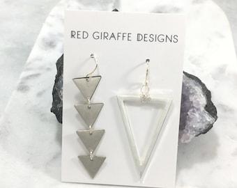 Asymmetric Silver Triangle Earrings | Geometric | Sterling Ear Wires