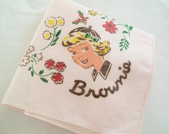 SALE - Girl Scout Hankie, Brownie Scout, 1950s, 1960s