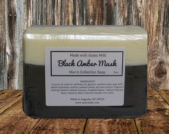 Goat Milk Soap ~ Bar Soap ~ Homemade Soap ~ Handcrafted Soap ~ BLACK AMBER MUSK ~ Mens Soap