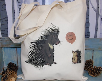 Porcupine & Hedgehog 'Nice Hair' Illustration Eco Tote Bag ~ 100% Cotton Long Handles