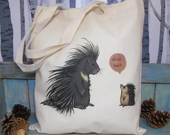 Porcupine & Hedgehog 'Nice Hair' Illustration Eco Tote Bag ~ 100% Cotton Long Handles