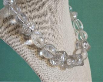 80's Original Stock Chunky Clear Acrylic Necklace & Earrings