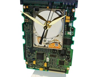 Apple iPod Hard Drive now a Clock on a Circuit Board, all recycled. About Time! FREE SHIPPING USA!