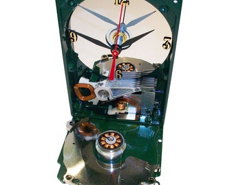 Glossy Green Painted Computer Hard Drive Clock, a Special Color. Accented Base with Computer Components.