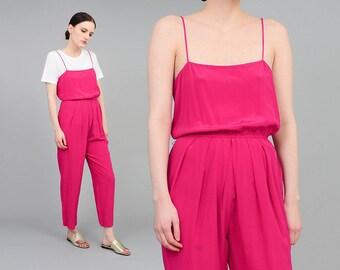Vintage Fuchsia Jumpsuit | Minimalist Silk Jumpsuit | Spaghetti Strap | Pleated Front Pantsuit | 1980s One Piece Romper Pink Purple | S M