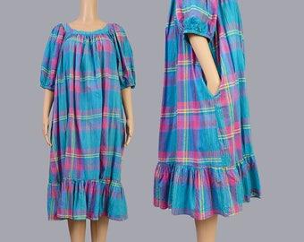 Vintage 80s Tartan Plaid Dress | Cotton Ruffle Tent Dress | Summer Picnic Trapeze Dress | Balloon Sleeves | Blue Pink | Medium Large M L