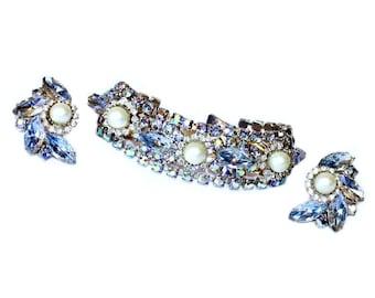 C.1950's Ice Blue Rhinestone Bracelet and Earring Set