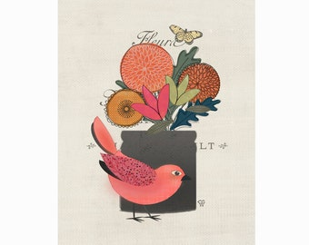 "Bird Art Collage, Botanical Art Print, ""Little Folk Bird No. 12"""