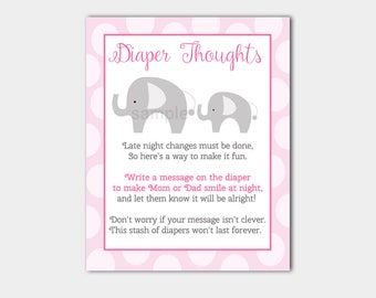 Diaper Thoughts Game | Pink and Gray Mod Elephant | Late Night Diapers Girl Baby Shower Game INSTANT DOWNLOAD bs-037