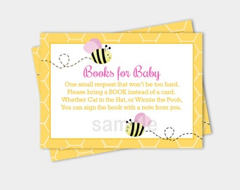 Bumble Bee Pink Wings Girl Baby Shower Book Request Enclosure Cards INSTANT DOWNLOAD bs-155