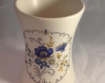 Vintage Purbeck Cream and Blue Ceramic Pot, Blue Floral vase