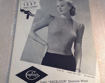 Vintage Ladies Knitting Pattern , vintage Sweater pattern , copleys knitting pattern