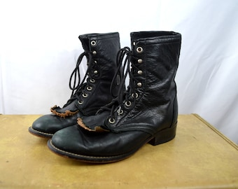 Vintage Laredo Leather Roper Fringe Lace Up Boots - Women's Size 7 1/2 W