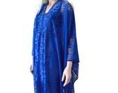 Boho Lace Kimono cardigan-Rich Cobalt blue-royal blue-wider and longer - Oversized kimono-Summer kimonos