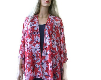 Cherry blossoms-Red chiffon kimono cardigan with floral print-Ruana style with spring flowers-Lagenlook style--Chiffon summer collection