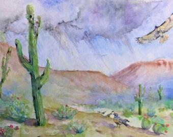 desert bird original watercolor painting, southwest wildlife art, original desert art, hawk, quail, woodpecker watercolor art, wall decor