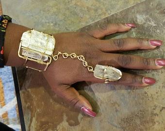 Selenite & Quartz goddess bracelet