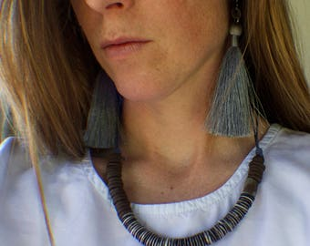 Extra Long Tassel Earrings, Dusky Silver Blue Tassels with tiny coins on french ear wires
