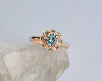 Rose Gold Ring, Garnet Ring, Zircon Rose Gold Ring, Rose Gold Sunflower Ring, Color Change Garnet, Color Change Garnet, Zircon Gemstone Ring